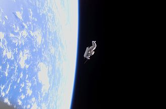SuitSat - Suitsat-1 in orbit after being deployed from ISS.