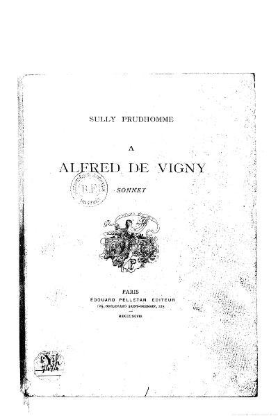 File:Sully Prudhomme - À Alfred de Vigny, 1898.djvu