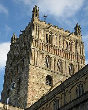 Sunlit tower, Tewkesbury Abbey - geograph.org.uk - 1037432