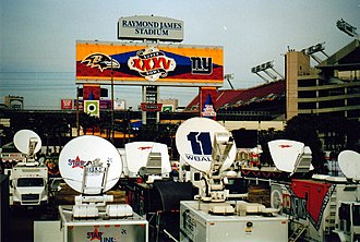 Super Bowl - The Super Bowl XXXV broadcasting compound, full of satellite trucks.
