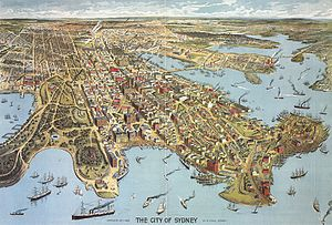 Sydney - Aerial illustration of Sydney, 1888
