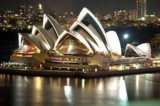 The Sydney Opera House was officially opened in 1973. Sydney Opera House Night.jpg