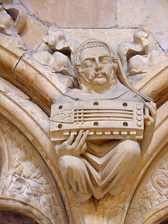 Music in Medieval England - A medieval carving of a symphonia player from Beverley Minster