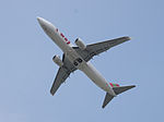 T'way Airlines Boeing 737-8KG HL8235 Taking off from Taipei Songshan Airport 20150427b.jpg