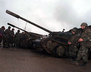Army of the Republic of Bosnia and Herzegovina - T-55 tanks belonging to the 28th Division, 281st Brigade, 1st Tank Battalion, stationed in Visca.