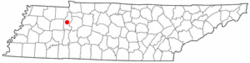 Location of Camden, Tennessee