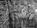 Tableau, men, uniform, trench, walking cane, dog, posture, gesture, First World War, soldier Fortepan 26053.jpg