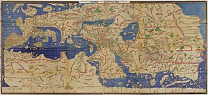 Muhammad al-Idrisi - The Tabula Rogeriana, drawn by al-Idrisi for Roger II of Sicily in 1154, one of the most advanced ancient world maps. Modern consolidation, created from the 70 double-page spreads of the original atlas.