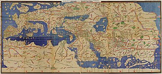 Muhammad al-Idrisi - The Tabula Rogeriana, drawn by al-Idrisi for Roger II of Sicily in 1154, one of the most advanced medieval world maps. Modern consolidation, created from al-Idrisi's 70 double-page spreads, shown upside-down as the original had South at the top.