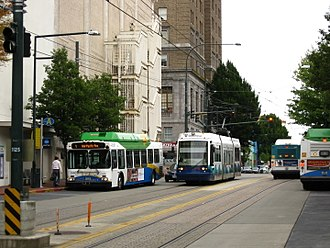 Tacoma Link - Link shares parts of its Commerce Street section with Pierce Transit buses.