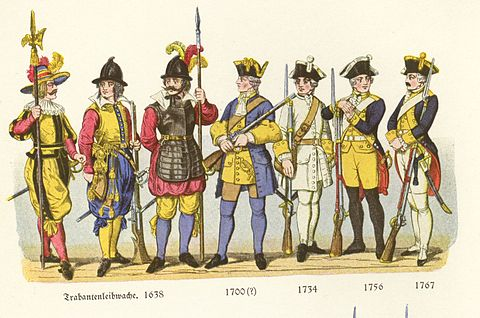 Various infantry of the 17th through 18th century (halberdier, arquebusier, pikeman, and mix of musketeers and grenadiers) of Duchy of Wurttemberg Tafel Io.jpg