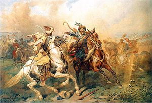 'Tatar dance' - (Crimean) Tatar soldier (left) fighting with the soldier of the Polish-Lithuanian Commonwealth (right). This was a common occurrence until the 18th century.