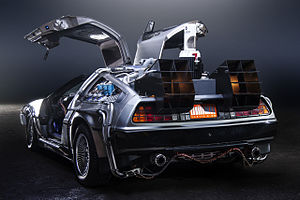 DeLorean time machine - A back view of the DeLorean time machine