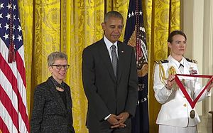 Terry Gross - Image: Terry Gross at White House, medal