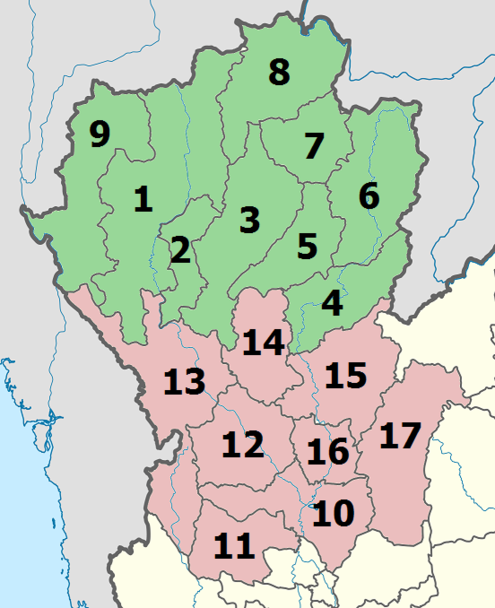 Upper and Lower Northern provinces Thailand Upper Lower North.png