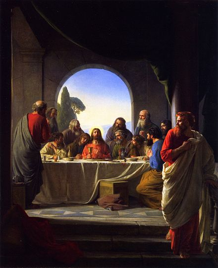 Last Supper, Carl Bloch. In some depictions John the Apostle is placed on the right side of Jesus, some to the left. The-Last-Supper-large.jpg