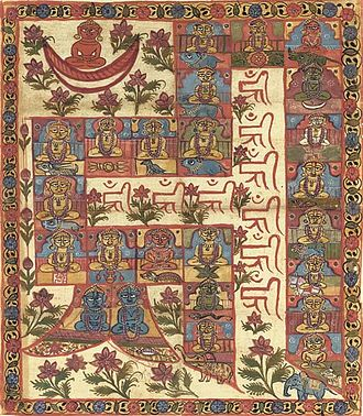 Tirthankara - The 24 Tirthankaras forming the tantric meditative syllable Hrim, painting on cloth, Gujarat, c. 1800