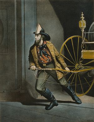 Louis Maurer - Image: The American Fireman by Louis Maurer 1858