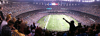 Mercedes-Benz Superdome - Panoramic of 69,719 in attendance during a Saints game vs the Detroit Lions, 2009.