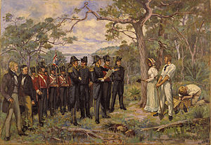 History of Perth, Western Australia - The Foundation of Perth 1829 by George Pitt Morison is a historically accurate reconstruction of the official ceremony by which Perth was founded.