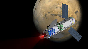 Nuclear pulse propulsion - Concept graphic of a Fusion Driven Rocket powered Spacecraft arriving at Mars