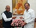 The Governor of Tamil Nadu, Shri Banwarilal Purohit calling on the Vice President, Shri M. Venkaiah Naidu, in New Delhi on October 09, 2017.jpg
