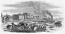 Disegno della argine lungo il Mississippi nel 1857 mostrano vaporetti ed edifici commerciali