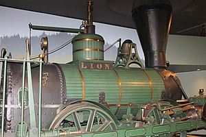Maine State Museum - The Lion steam locomotive display at the Maine State Museum in Augusta
