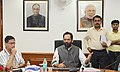 The Minister of State for Minority Affairs (Independent Charge) and Parliamentary Affairs, Shri Mukhtar Abbas Naqvi addressing after launching the revamped website (bilingual) of the Ministry of Minority Affairs, in New Delhi.jpg