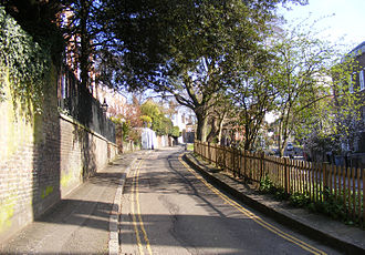 Hampstead - A current day view of the location used for the Madox Brown painting on The Mount, just off Heath St