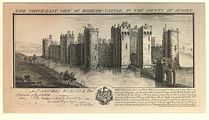 Bodiam Castle - Engraving of 1737 by Samuel and Nathaniel Buck, showing Bodiam Castle from the northeast