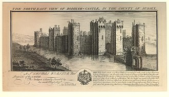 Samuel and Nathaniel Buck - Engraving of 1737 by the Buck Brothers, showing Bodiam Castle in Sussex from the northeast