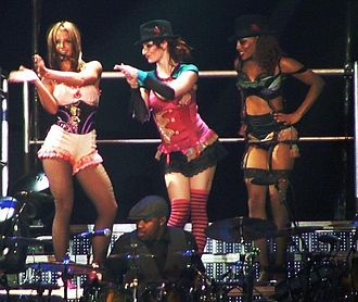 Oops!... I Did It Again (song) - Spears (left) and her dancers during The Onyx Hotel Tour, 2004.