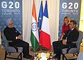 The Prime Minister, Dr Manmohan Singh meeting the President of France, Mr. Nicolas Sarkozy, on the sidelines of the G-20 Summit, at Toronto, in Canada on June 26, 2010.jpg
