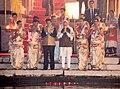 The Prime Minister, Shri Narendra Modi and the Prime Minister of Japan, Mr. Shinzo Abe offering prayers during the Ganga Aarti at Dashashwamedh Ghat, in Varanasi, Uttar Pradesh on December 12, 2015 (2).jpg