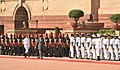 The Prime Minister of Nepal, Mr. Pushpa Kamal Dahal inspecting the Guard of Honour, at the Ceremonial Reception, at Rashtrapati Bhavan, in New Delhi on September 16, 2016.jpg
