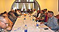 The Union Home Minister, Shri Rajnath Singh chairing a meeting on Strategic Security Review of Jammu and Kashmir with particular reference to the Amarnath Yatra, at Raj Bhavan, in Srinagar.jpg