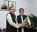 The Union Minister for Rural Development, Panchayati Raj, Drinking Water and Sanitation, Shri Chaudhary Birender Singh greets the Minister of State for Drinking Water & Sanitation.jpg