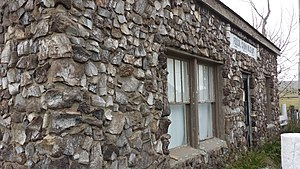 Como Bluff - The famous Fossil Cabin at Como Bluff, built in 1932 from broken dinosaur bones.