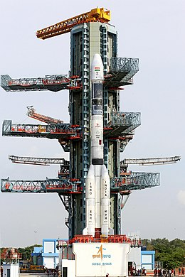 The fully integrated GSLV-F05 carrying INSAT-3DR at the second launch pad.jpg