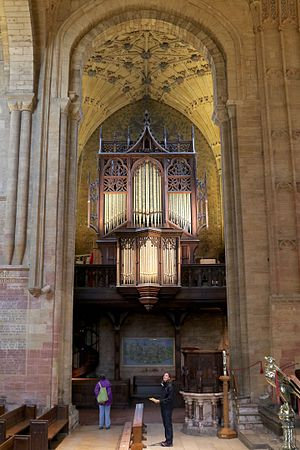 Sherborne Abbey - The organ in the north transept