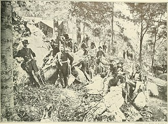 James S. Negley - General James S. Negley (standing uncovered) and Staff during the Battle of Lookout Mountain