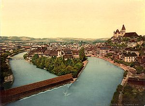 Thun - Photochrome of the Aare and Thun Castle from 1900