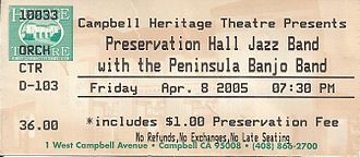Peninsula Banjo Band - 2005 ticket when the PBB opened for the Preservation Hall Jazz Band