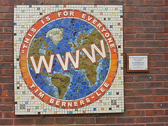 East Sheen - Mosaic by Sue Edkins at Sheen Lane Centre honouring Tim Berners-Lee