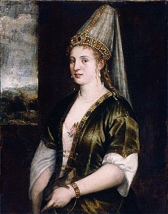 Hurrem Sultan - Portrait by Titian titled La Sultana Rossa, c. 1550