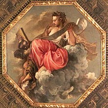 painting of allegorical female figure seated on cloud