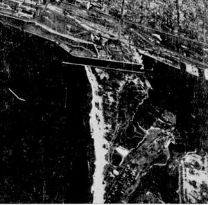History of Toronto Island Airport - Aerial view of the airport site in 1937, prior to construction. Hanlan's baseball stadium can be seen to middle right.