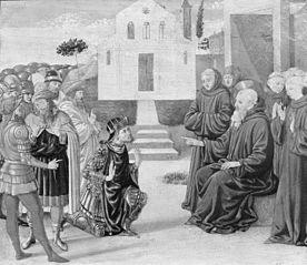 Totila before Saint Benedict