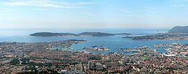 View of downtown Toulon and Mediterranean Sea from Mount Faron